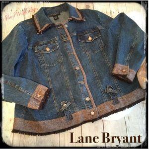 Lane Bryant Denim Jean Jacket w/ Brown Fringe